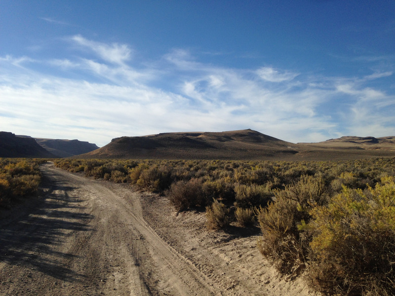 road next to the dry lakebed