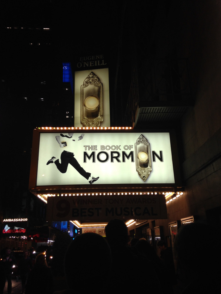 front of the theatre for Book of Mormon