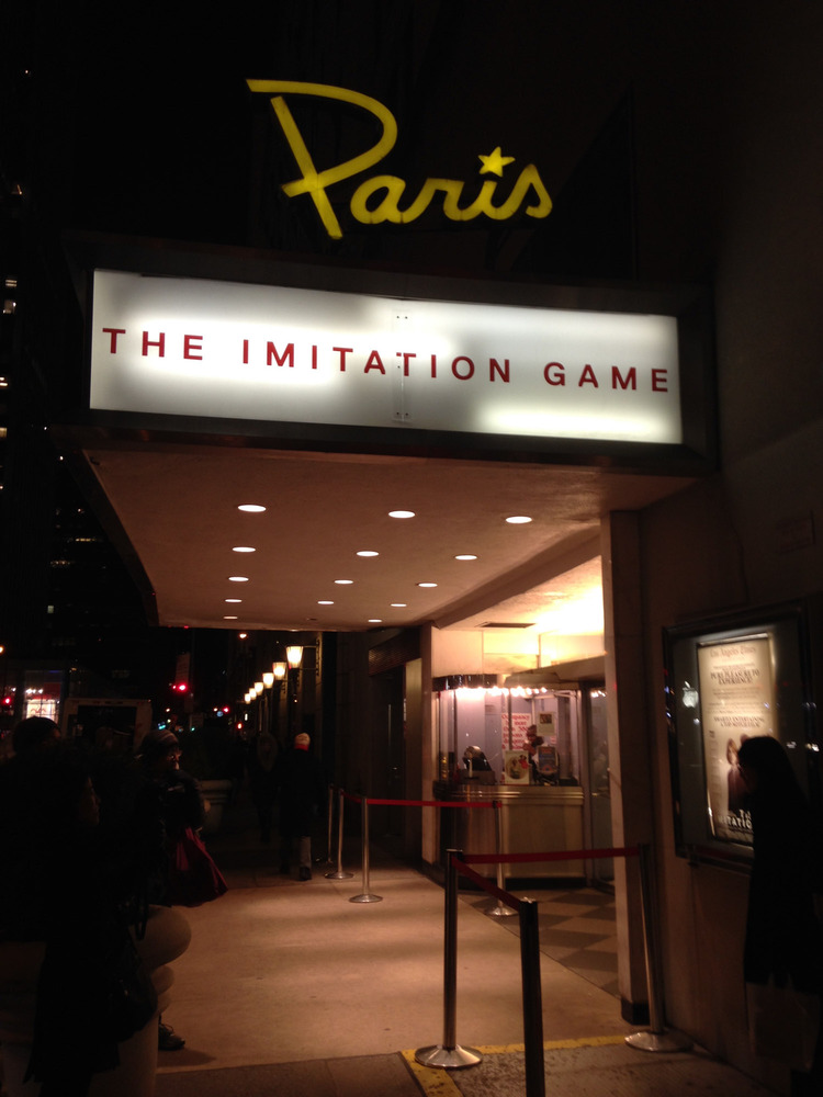 front of the movie theatre for The Imitation Game
