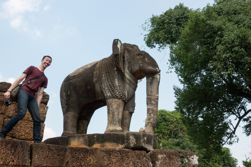 elephant sculpture and Jake at the East Mebon