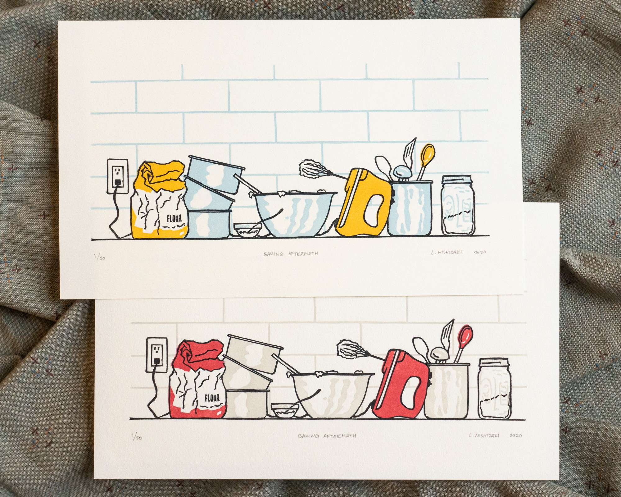 Two vibrantly colored baking-themed prints on white paper, overlapping. The top print has golden yellow appliances with baby blue shadows; the bottom print has red appliances with grey shadows.