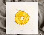 An old fashioned donut reduction print in shades of yellow and orange, with a light brown outline and subtle yellow wavy parallel lines at an angle.